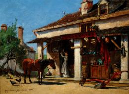 Oil painting of a mule standing in front of a white and brown building with an open front store showing goods for sale
