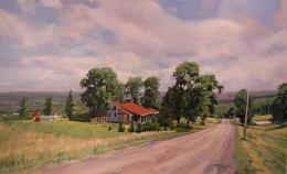 Landscape painting of a farm house nestled in the trees