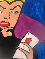 Painting of Evil Queen holding an iPhone