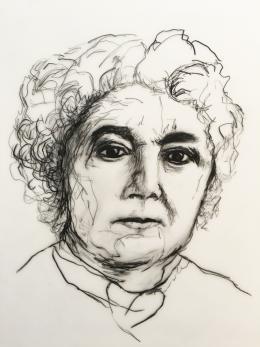 Drawn black and white portrait of a woman, Elizabeth Cady Stanton