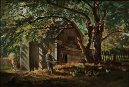 Boy feeding chickens under a shady tree next to small farm buildings