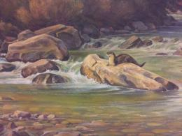 A painting of brown otter resting atop a boulder in the middle of a green flowing river