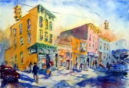 Watercolor scene of busy street corner in Albany, NY