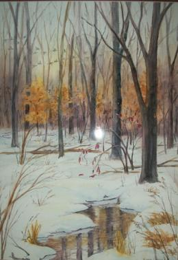 Painting of a frozen pond in winter in forest with birds flying overheard