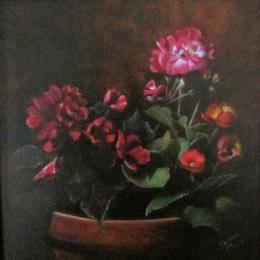 Painting of pink potted begonias and geranium flowers