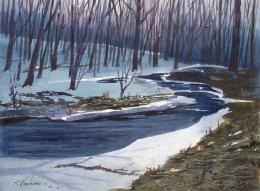 Painting of river flowing through snowy woods